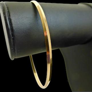 Solid 18K Yellow Gold Vintage Minimalist Bangle Bracelet
