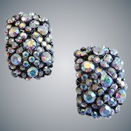 Extreme Aurora Borealis Crystal Curved Domed Clip Back Earrings