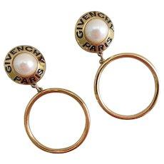 Givenchy Paris Vintage Runway Goldtone and Faux Pearl Hoop Earrings