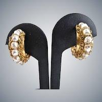 Signed Haskell Vintage Faux Pearl Hoop Earrings