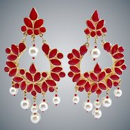 Red Enamel Lotus Flower Vintage Clip Earrings with Faux Pearls