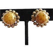 Christian Dior Signed Vintage Amber Art Glass Clip Back Earrings