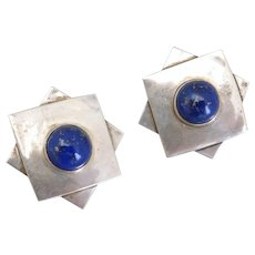 Taxco Mexican Sterling Silver Clip Earrings with Lapis Cabochons