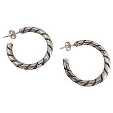 Sterling Silver Vintage Twist Hoop Earrings, One Inch Diameter