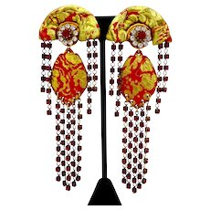 """Ultra Glam Red and Gold Tone Chandelier Dangle Drop Clip Earrings, 4 1/2"""""""