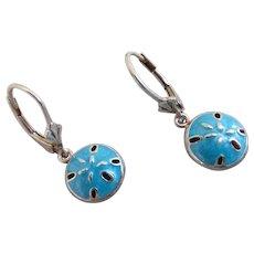 Sweet Turquoise Blue Enamel Sterling Silver Sand Dollar Earrings