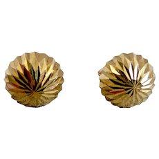 14k Yellow Gold Diamond Cut Half Ball Stud Earrings