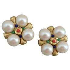 Chunky Creamy Faux Pearls Statement Sized Clip Earrings