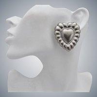 Escada Large Signed Silver Tone Heart Earrings, Clip Back