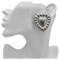 Escada Large Signed Silver Tone Heart Earrings, Clip Back