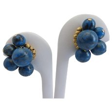 Vintage Hattie Carnegie Signed Blue Bead Button Clip Earrings