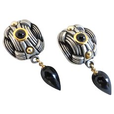 Fahrenheit Black Onyx and Silver tone Drop Earrings, Clip Back