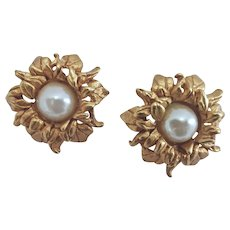 Kate Hines Sunflower Earrings with Faux Pearl Cabochons, Clip Back, Signed