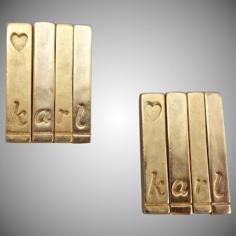"""Lagerfeld """"karl"""" Earrings Signed, Varied Gold Tones Panel Clip Backs"""