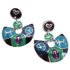 Edgar Berebi Signed Vintage Enamel Drop Earrings