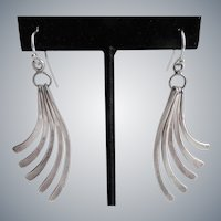 Sterling Silver Handcrafted Earrings of Graceful Curved Nesting Strips