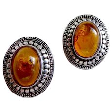 Vintage Sterling Silver, Natural Honey Amber Oval Earrings, Pierced Back