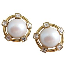 Vintage Givenchy Cream Faux Pearl Cabochon and Rhinestone Earrings, Clip Back