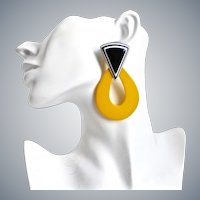 Memphis Style (1980s)Yellow and Black Lucite Drop Earrings