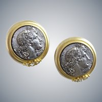 Roxanne Assoulin Signed Pewter Look Coin Earrings, ClipBack