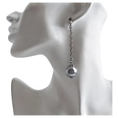 Large Faux Grey Pearls on Rhinestone Chain, Post Earrings