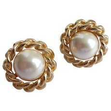 Christian Dior Signed Faux Pearl Earrings, Goldtone Chain Frame