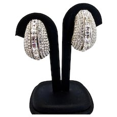 Exceptional Rhinestone Curved Clip Back Earrings