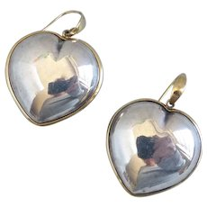Large 18k Yellow Gold and Sterling Silver Puffed Heart Earrings