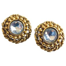 Chanel Vintage Earrings with Rhinestone Centers, Clip Backs