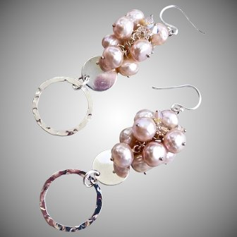 Pale Pink Faceted Freshwater Pearls, Swarovski Crystals and Sterling Silver Earrings