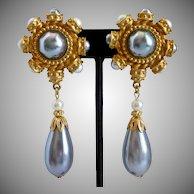 Carolina Herrera Signed Faux Grey Pearl Drop Earrings, Clip Backs