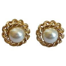 Christian Dior Signed Faux Pearl Pierced Earrings, Goldtone Chain Frame