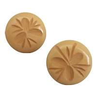Butterscotch Bakelite Carved Button Earrings for  Pierced Ears