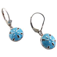 Sterling Silver and Turquoise Enamel Sand Dollar Earrings