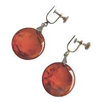 Vintage Amber Colored Bakelite Drop Earrings, Screw backs