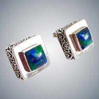 Sterling Silver and Lapis/ Chrysocolla Handcrafted Signed Square Earrings