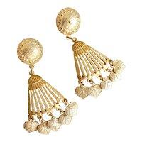 Fabulous Givenchy Gold Tone Drop Earrings, Pierced