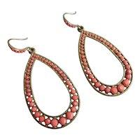 Open Teardrop Earrings of  Salmon Colored Stones, Pierced