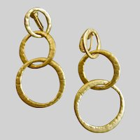 Kenneth Lane Matte Gold Tone Three Ring Drop Earrings, Clip Backs