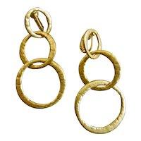 Kenneth Lane Matte Gold Tone Three Ring Drop Earrings, Clip Backs