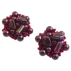 Garnet Beaded Button Earrings, Clip Backs