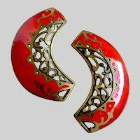 Exotic Vintage Edgar Berebi Red Enamel Earrings with Antiqued Brass Cutouts