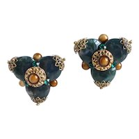 Vintage Clip Back Artisan Earrings of Dark Green Moss Agate Stones and Glass