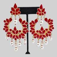Vintage Red Enamel Lotus Flower Earrings with Faux Pearls, Clip Backs
