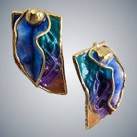 Vintage Amy Lacombe Abstract Ruffly Ceramic Artisan Earrings, Pierced