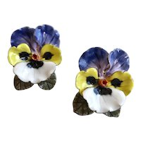 Pansy Earrings of Handcrafted Hand Painted Porcelain, Post Backs