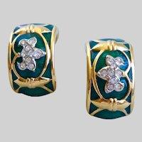 SWAROVSKI Half Hoops of Green Enamel and Crystal on Gold Tone, Clip Backs