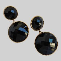Stunning Black Jet Faceted Glass Drop Earrings