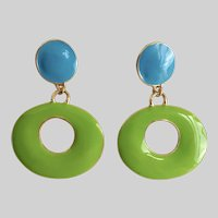 Delicious Vintage Earrings of 2 Tone Enamel with Oval Drops, Post Backs