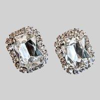 Big, Bold, Bright and Clear Rhinestone Earrings, Clip Backs